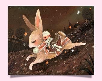 Rabbit Riding – Art Print