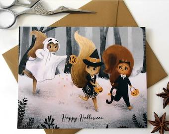 Trick or Treat Squirrels - Halloween Card | Cute Squirrel Card | Fall Greetings | Squirrel Halloween Card