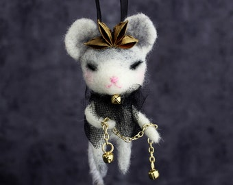 Custom Mouse – Vintage style Christmas holiday hanging ornament, handmade art doll. OOAK Folklore gift