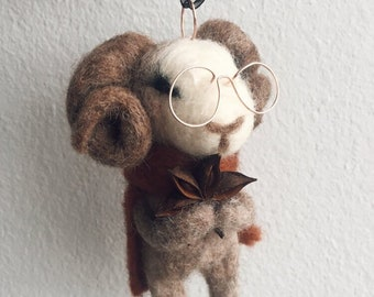 Custom Ram with Glasses – Vintage style holiday Christmas hanging ornament, handmade art doll. OOAK Folklore gift