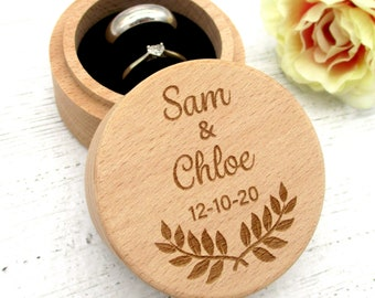 Engravable® - Personalised Wedding Ring Box, Engagement Ring Box | Beechwood Ring Holder Box for Two Rings with Double Cut Pillow, Cushion