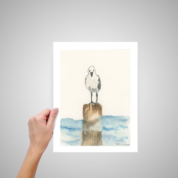 Seagull Wall Decor Print Of An Original Handmade Watercolor Etsy