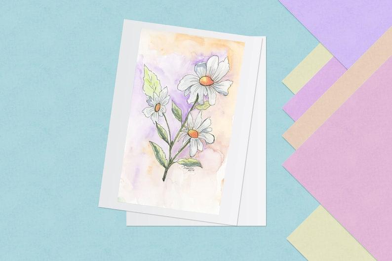 Multiple Sizes Set of 5 Flat  Cards w Envelopes Blank Backside Daisies Purple and Orange Skies Watercolor Print