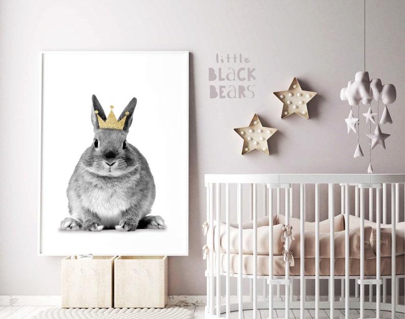 Nursery room decor Animal poster Woodland animal wall decal Printable wall art Bunny with crown wall art Animal nursery print AWA10
