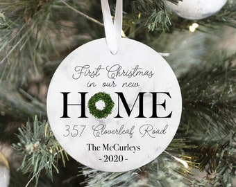 New Home Ornament Personalized Ornament Home Ornament New Homeowner Ornament Address Wood Ornament Realtor Gift Basket Tag