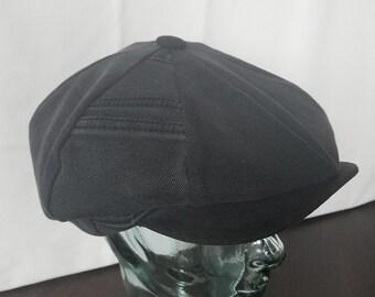 a1374904 Recycled Black Denim Newsboy Cap