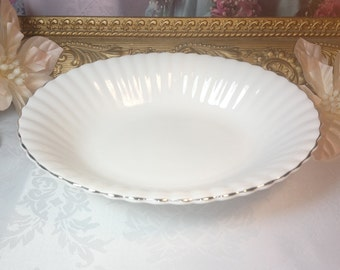 Royal Albert Petite Pointe Edition Gold Edged Scalloped Edge Meats or Candy Dish
