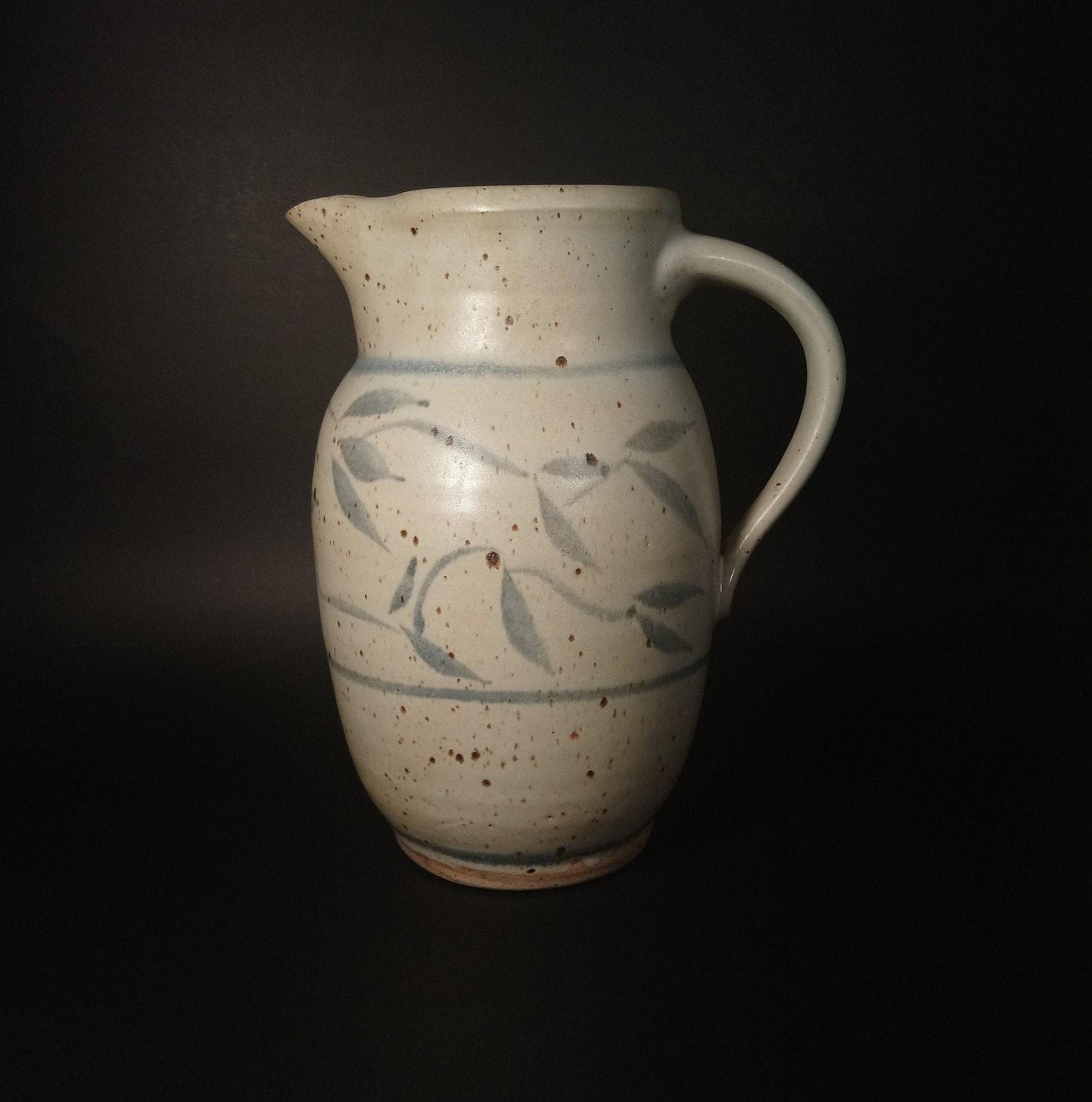 Studio Pottery Jug Vintage Pottery Jug Handmade Pottery Clay Jug