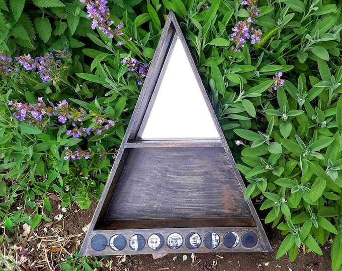 Large Moon Phases Lunar Wooden Altar Shelf with Mirror, Wiccan Moon Triangle Alter, Ritual Prayer Tool Mirrored Witch Crystal Altar Shelves