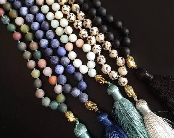 Natural Gemstone Mala, Buddhist Wrap Bracelet Beaded Necklace, Buddhist Prayer Beads, Yoga Meditation Hand Knotted Beaded Spiritual Jewelry