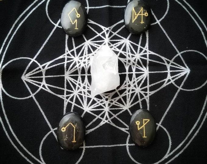 Black Tourmaline Archangel Sigil Stone Set, Engraved Meditation and Spiritual Healing Crystals, Arch Angels Michael, Uriel, Gabriel, Raphael