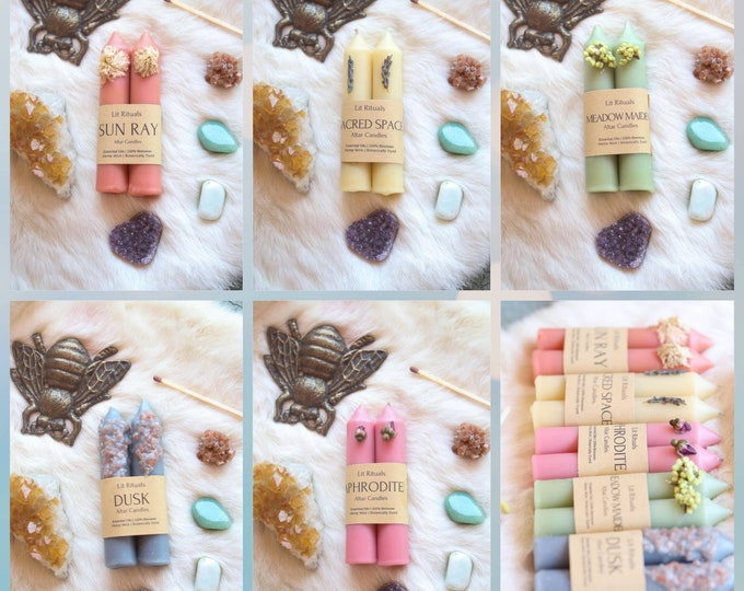 100% Beeswax Ritual Altar Candles, Mother's Day Gift, All Natural Dressed Botanical Tapers for spellwork, wiccans, pagans, witches, spring