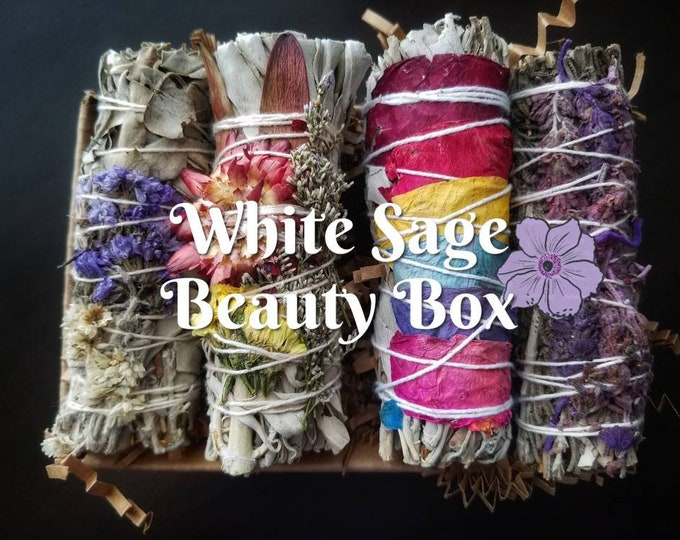 Beauty Box Floral White Sage SmudgeSmoke Cleansing Wand Ritual House Smudging Cleanse Natural Incense Smudging Dried Sage Herb Altar Tools