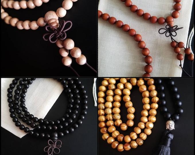Natural Wooden Mala, Buddhist Wrap Bracelet Beaded Necklace, Buddhist Prayer Beads, Yoga Meditation Stretch Cord Beaded Spiritual Jewelry