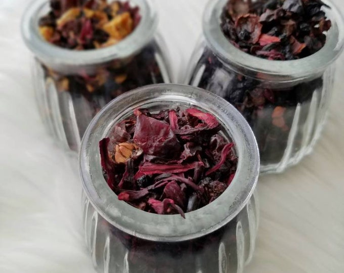 Berry Hibiscus Loose Leaf Tea Gift Set Trio,Caffeine Free, all natural handcrafted artisan wildcrafted organic loose leaf gourmet herbal tea