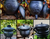 Cast Iron Cauldron with Lids and Metal Handle, kitchen witch decor, Apothecary, Wiccan Altar offering, triple moon, Herb Spells, triquetra