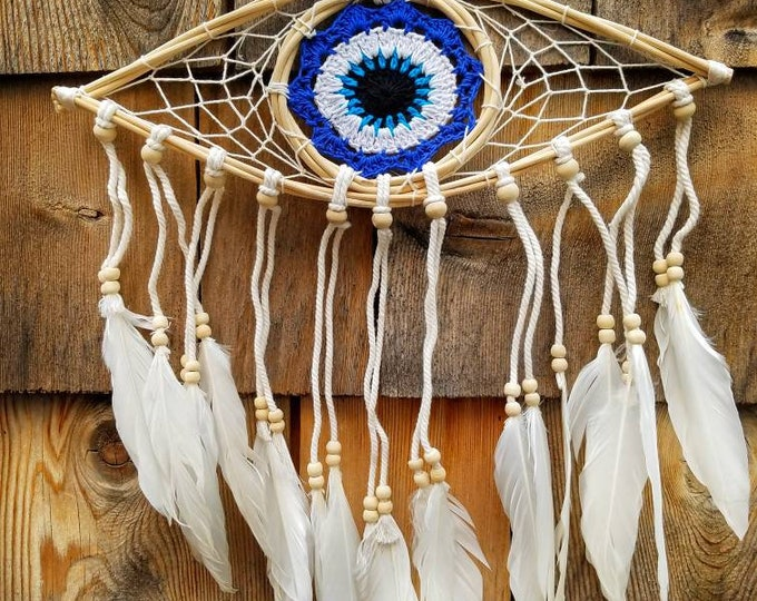Nazar Evil Eye Protection Woven Hanging Wall Art Feathers, Wiccan Alter Home Decor, Ritual Magic Tool Witch Altar Hanging, Boho Wall Decor