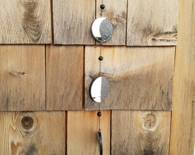 Mirror Moon Phases Lunar Wooden Wall Hanging, Wiccan Moon Alter Home Decor, Ritual Magic Tool Mirrored Witch Altar Hanging, Boho Wall Decor