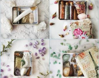 Mini Travel Size Altar Stash Box On The Go, Discreet Broom Closet Spell Kit, Pocket Altar Tin Starter Set, Beginner Wiccan Pagan Gift Set