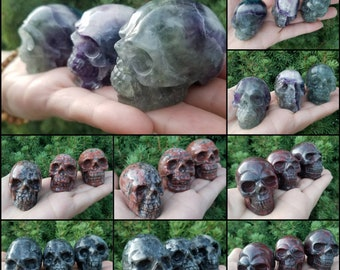 Genuine Crystal Skull Spooky Halloween Aesthetic Decor, Gothcore crystals, wire wrapping polymer clay crafts, handmade witch jewelry supply