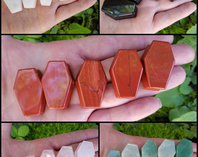 Genuine Crystal Coffin Spooky Halloween Aesthetic Decor, goth girl crystals, wire wrapping polymer clay craft, handmade witch jewelry supply
