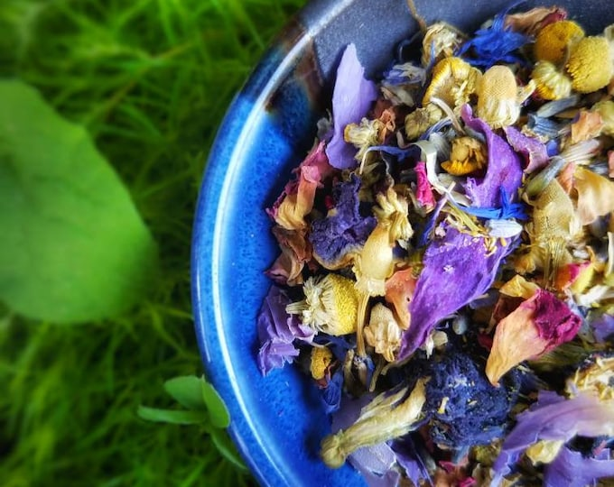 Once in a Blue Moon Loose Leaf Tea Full Moon Ritual Tea Bags   handcrafted artisan wildcrafted organic loose leaf gourmet herbal tea blends