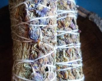 Wild Lavender, Blue & White Sage Smudge WandsSmoke Cleansing Ritual House Smudging Sage Stick Natural Incense Dried Herb Bundles Altar Tool