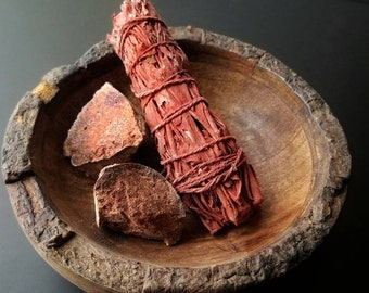 Dragons Blood Red Sage SmudgeSmoke Cleansing Ritual House Smudging Cleanse California White Sage Natural Incense Smudging Herb Altar Tools