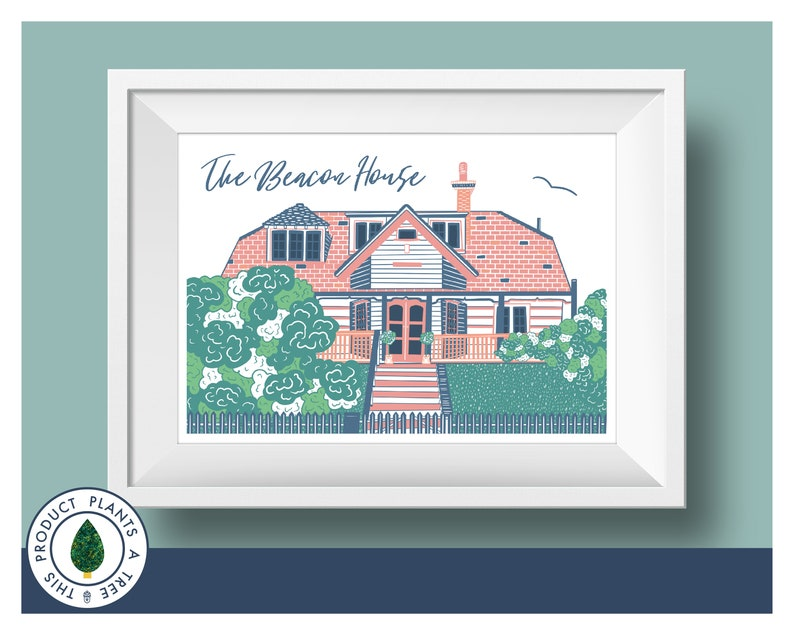 The Beacon House  Whitstable  Colourful  Relief Print Style image 0