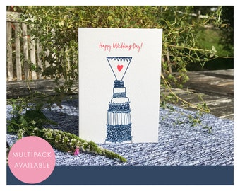 Happy Wedding Day Card   Multipack or Individual   Wedding Cake   Heart   Relief Print Style  Blue   Textured Greetings Card with Envelope