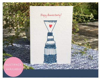 Happy Anniversary Card   Multipack or Individual   Wedding Cake   Heart   Relief Print Style  Blue   Textured Greetings Card with Envelope