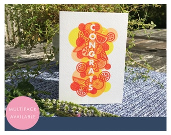 Congratulations Card   Multipack or Individual   Congrats   Cocktail   Fruits   Citrus   Textured Greetings Card with Envelope
