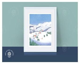 Skiing   Winter   Mountains   Ski Slopes   Resort   Christmas   Illustration   Giclee Art Print   A5 A4 A3   Unframed