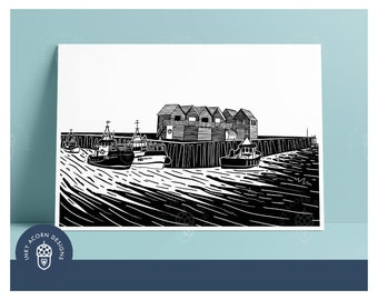 Whitstable Harbour Fisherman Huts in Monochrome Unframed Giclee Art Print   Black and White Illustration   A5 or A4