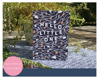 Hello Little One Card   Multipack or Individual   New Baby   High Contrast   Moon and Stars   Textured Greetings Card with Envelope