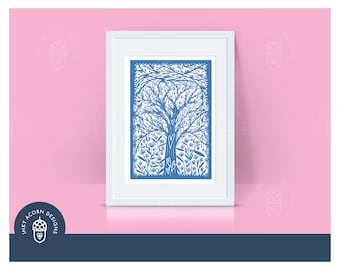 Personalised Family Tree Illustration in Papercut Style Drawing   Different Colours   Giclee Art Print   Portrait   A5 A4 A3   Unframed