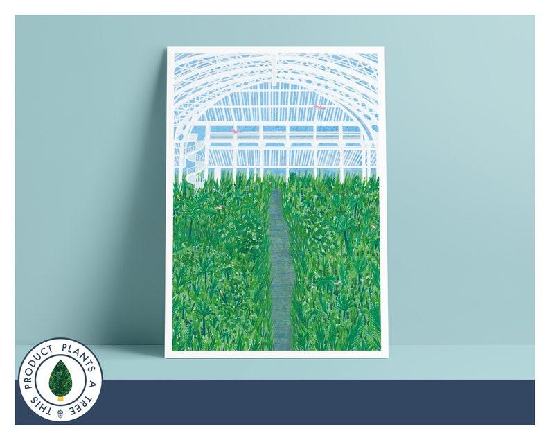 Kew Gardens  Palm House  Botanical  Illustration  Giclee image 0