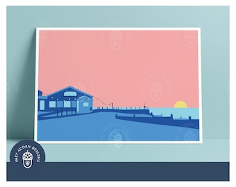 Whitstable East Quay Venue Unframed Giclee Art Print in Pink   Quayside   Beach   Sunset   Colourful   Illustration   A5 A4 A3