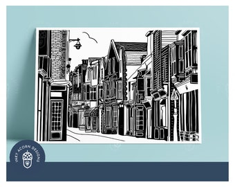 Harbour Street Whitstable Black and White Illustration Unframed Giclee Art Print Featuring Independent Shops   A5 A4 or A3