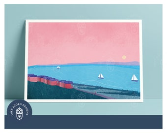 Whitstable Bay   Tankerton Slopes   Beach Huts   Colourful   Gallery Quality Art Print   A5 A4 A3   Unframed