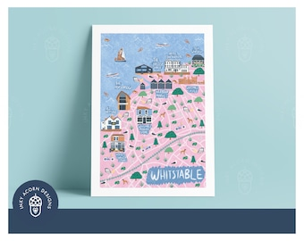 Illustrated Whitstable Map Unframed Giclee Art Print   A5, A4, A3 or A2 size