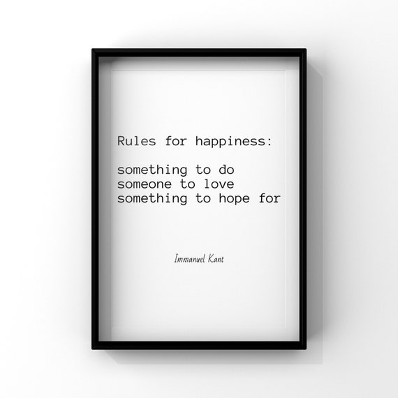 Immanuel Kant Happiness German Philosophy Quotes Poster Wall Art Printables Home Decor Instant Download Inspiration Motivation