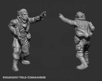 Insurgent Field Commander Miniature - UNPAINTED | 3D Printed |  SkullForge Studio| Legion | RPG | Scifi | Role Playing | D&D |