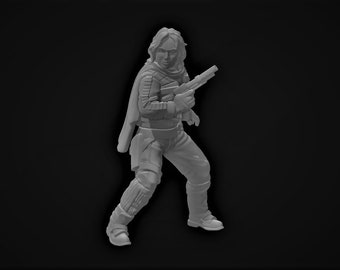 Insurgent Sergeant Hope Scarf Miniature - UNPAINTED | 3D Printed |  Skull Forge Studio| Legion | RPG | Scifi | Role Playing | D&D |