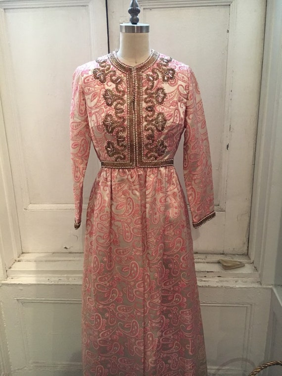 Ceil Chapman, vintage, 1960's, gold and pink, embe