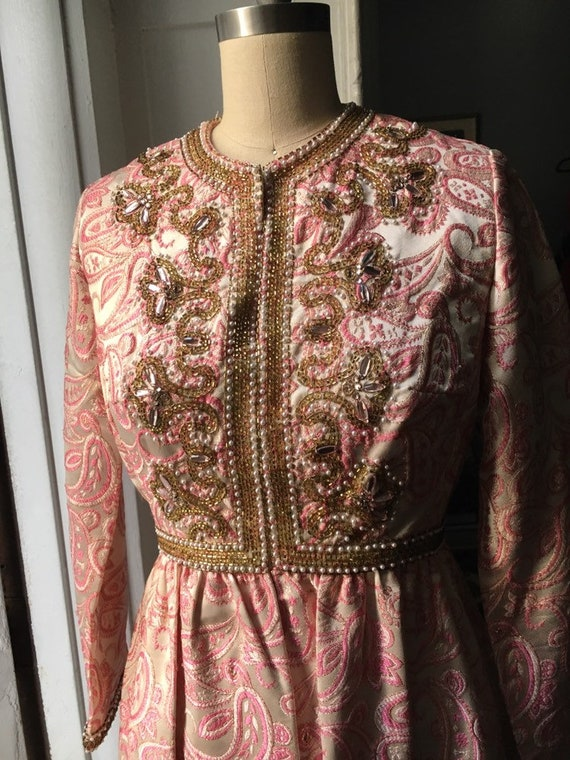 Ceil Chapman, vintage, 1960's, gold and pink, emb… - image 3