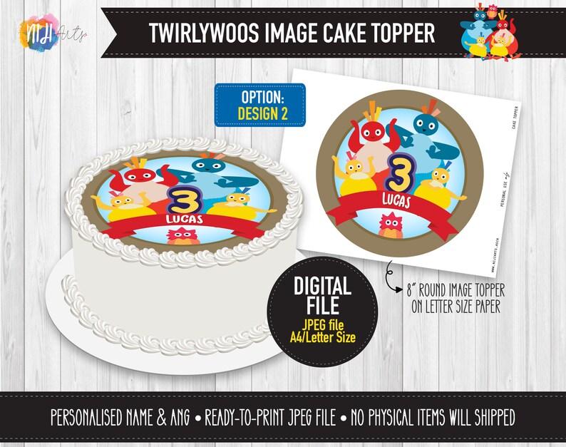 Edible Cake Image DIGITAL Printable Twirlywoos Inspired Image Cake Topper