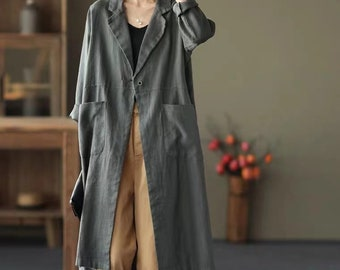 Long linen jacket available in 5 linen colors Linen coat Fabio in black heavy linen Washed and soft linen coat with pockets and buttons