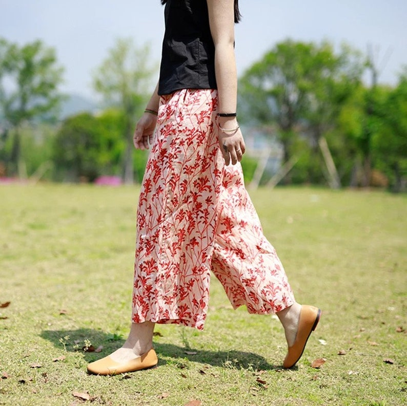 Women Fall Wide Leg Linen Pants Casual Palazzo Pants Wide Crop Pants with Pocket Linen Culottes Floral Elastic Waist Pant Loose Linen Pants