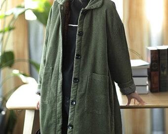 Winter Thick Corduroy Long Coat Mid-length Large Size Warm Jacket Ladies Corduroy Windbreaker 90S Large Size Corduroy handmade Trench Coat